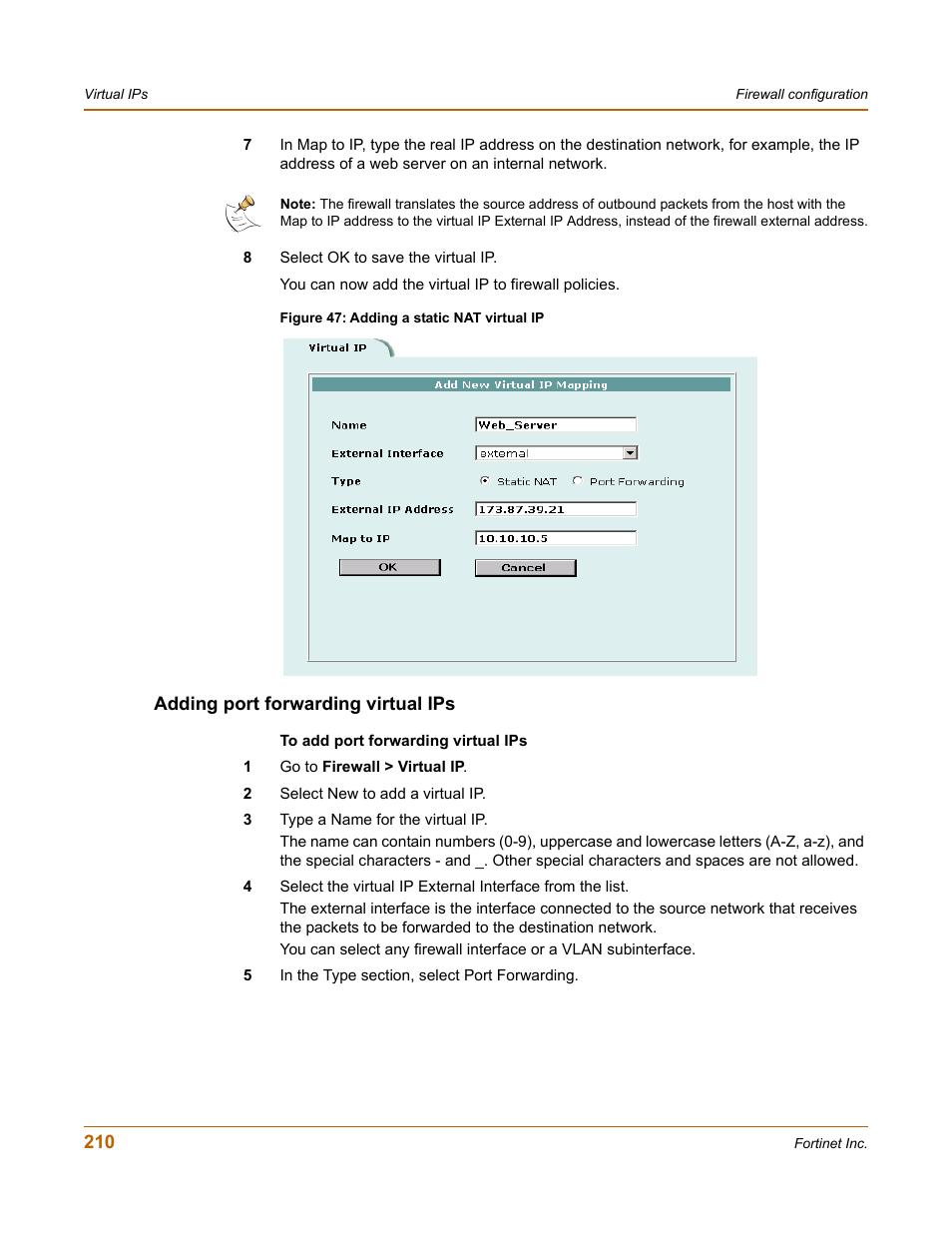 Adding port forwarding virtual ips, Ding port forwarding