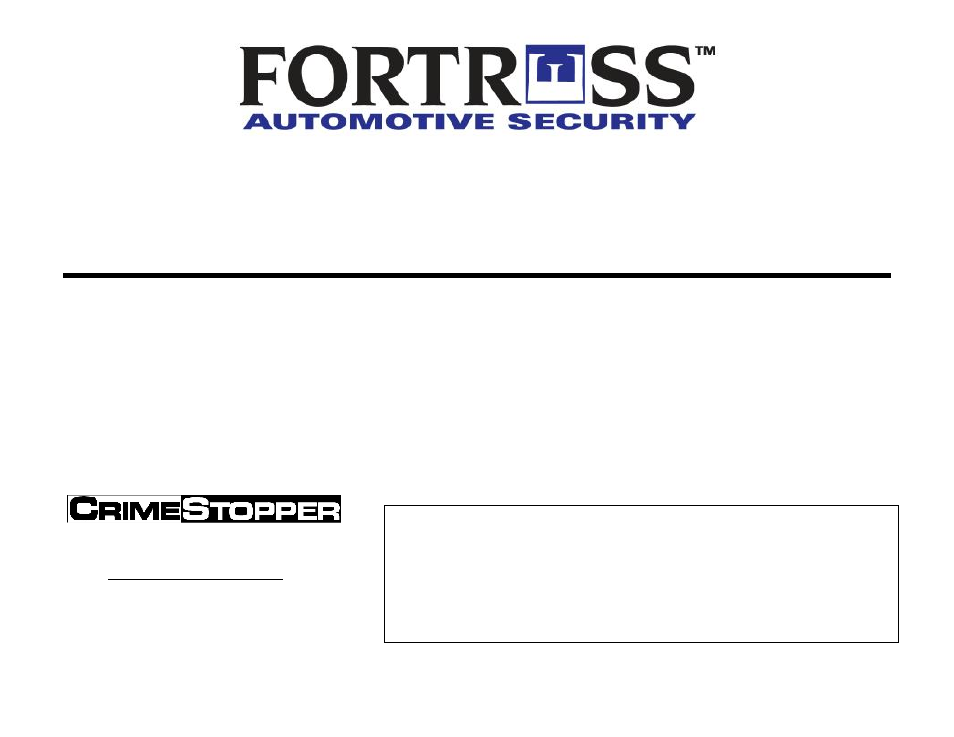 Fortress Technologies CRIMESTOPPER FS-10 Manual