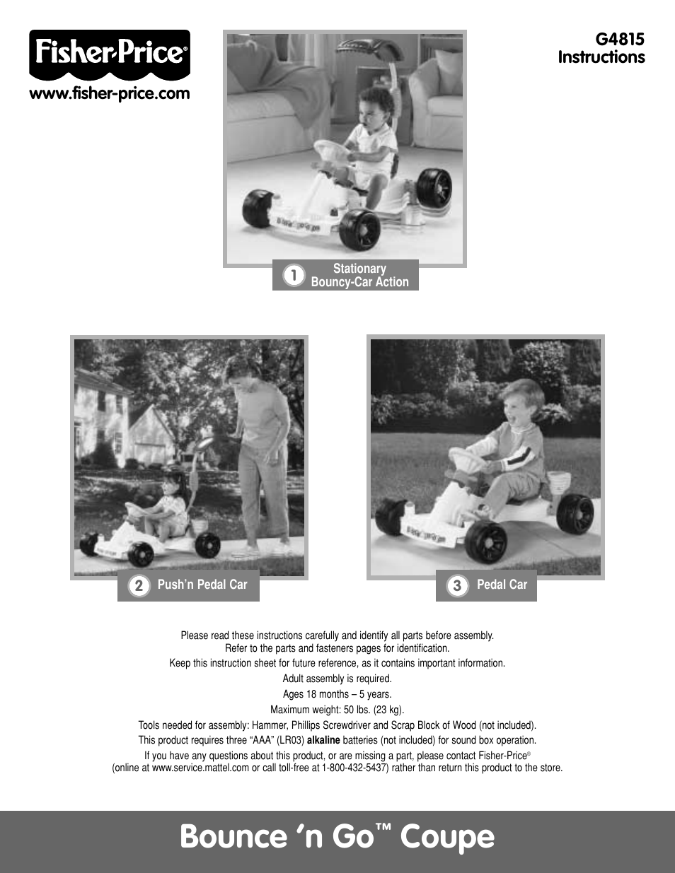 Fisher-Price BOUNCE N GO G4815 User Manual | 16 pages