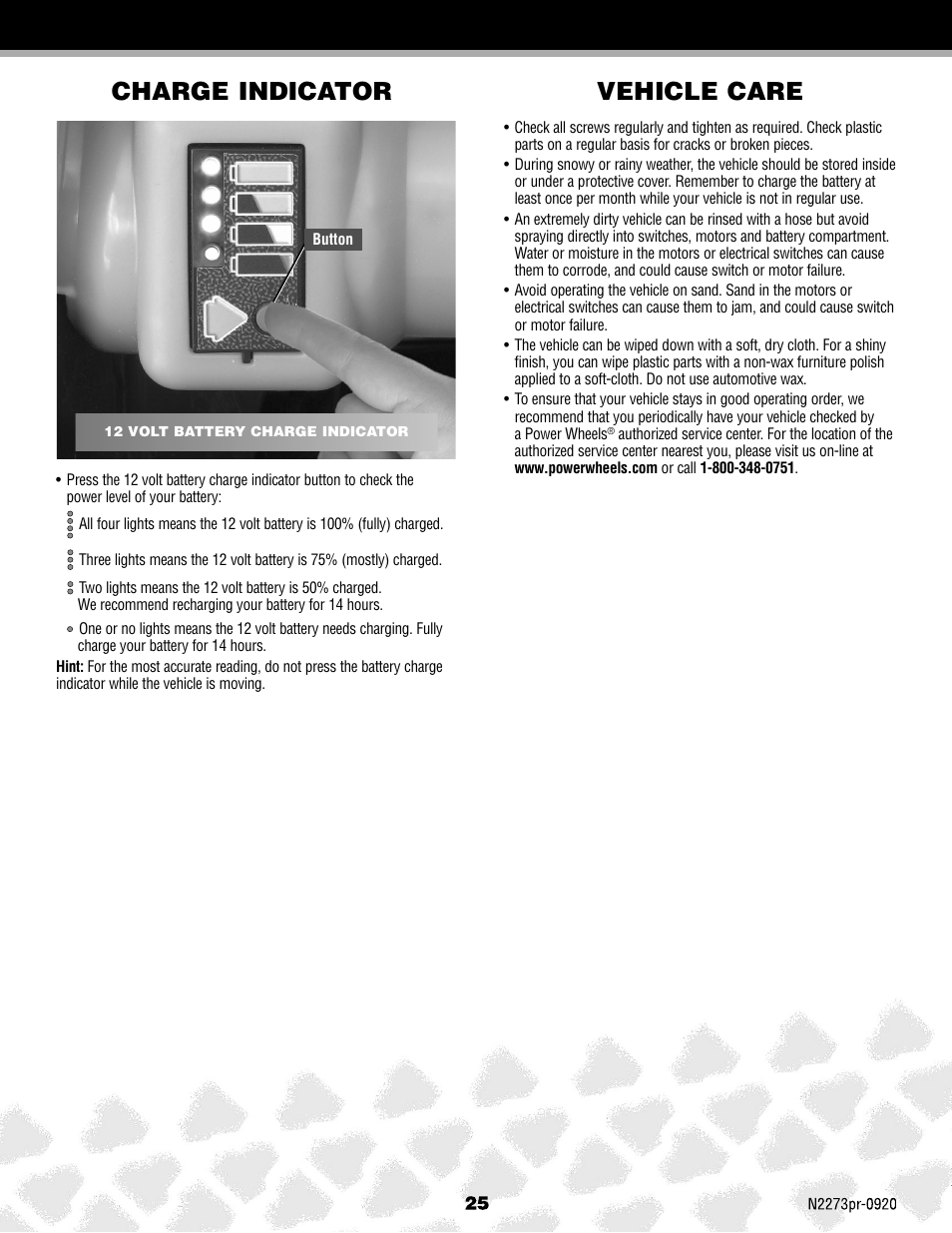 Vehicle Care Charge Indicator Fisher Price Jeep Hurricane N2273 Battery Level User Manual Page 25 32