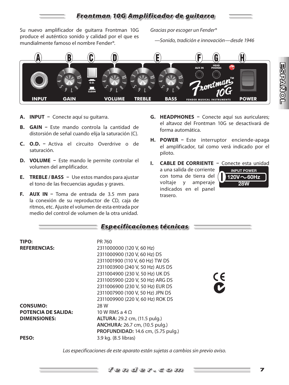 10G Amplificador para guitarra Fender Frontman 230/V EUR