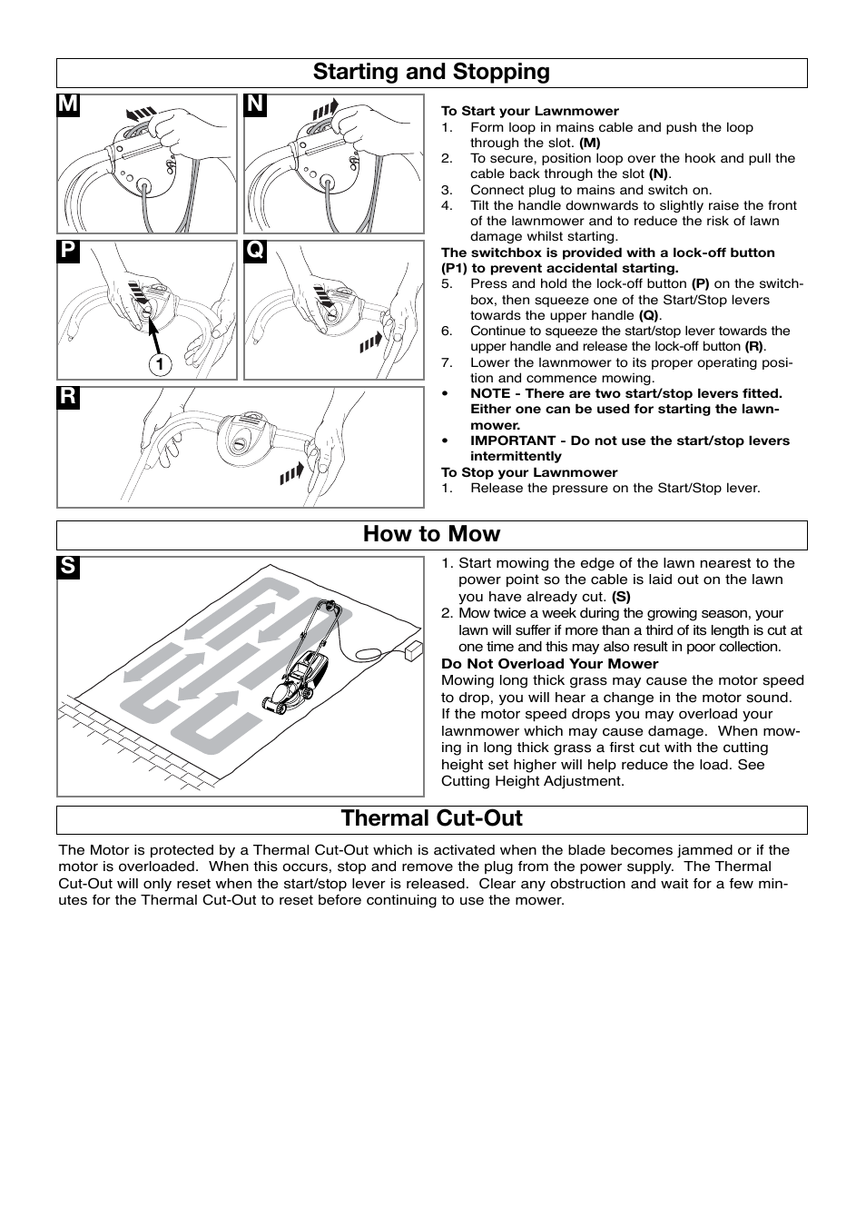 Starting and stopping, How to mow, Thermal cut-out | Flymo ROLLERMO RM032  User Manual | Page 6 / 10