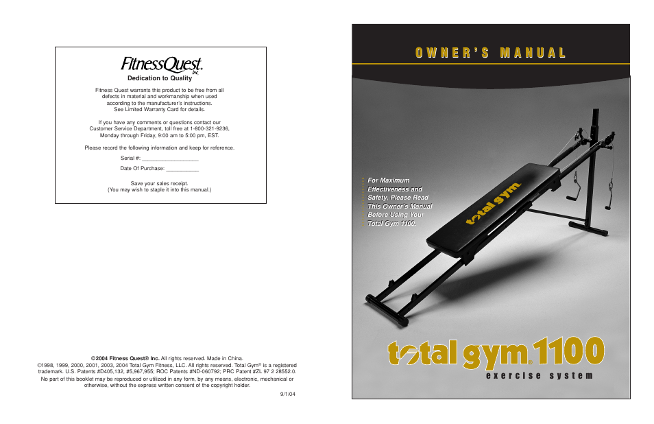 fitness quest total gym 1100 user manual 7 pages rh manualsdir com Quest Inc Livonia MI Fitness Quest Inc Bankruptcy