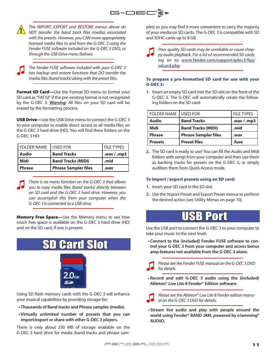 Sd card slot, External storage of tracks and presets, Usb port