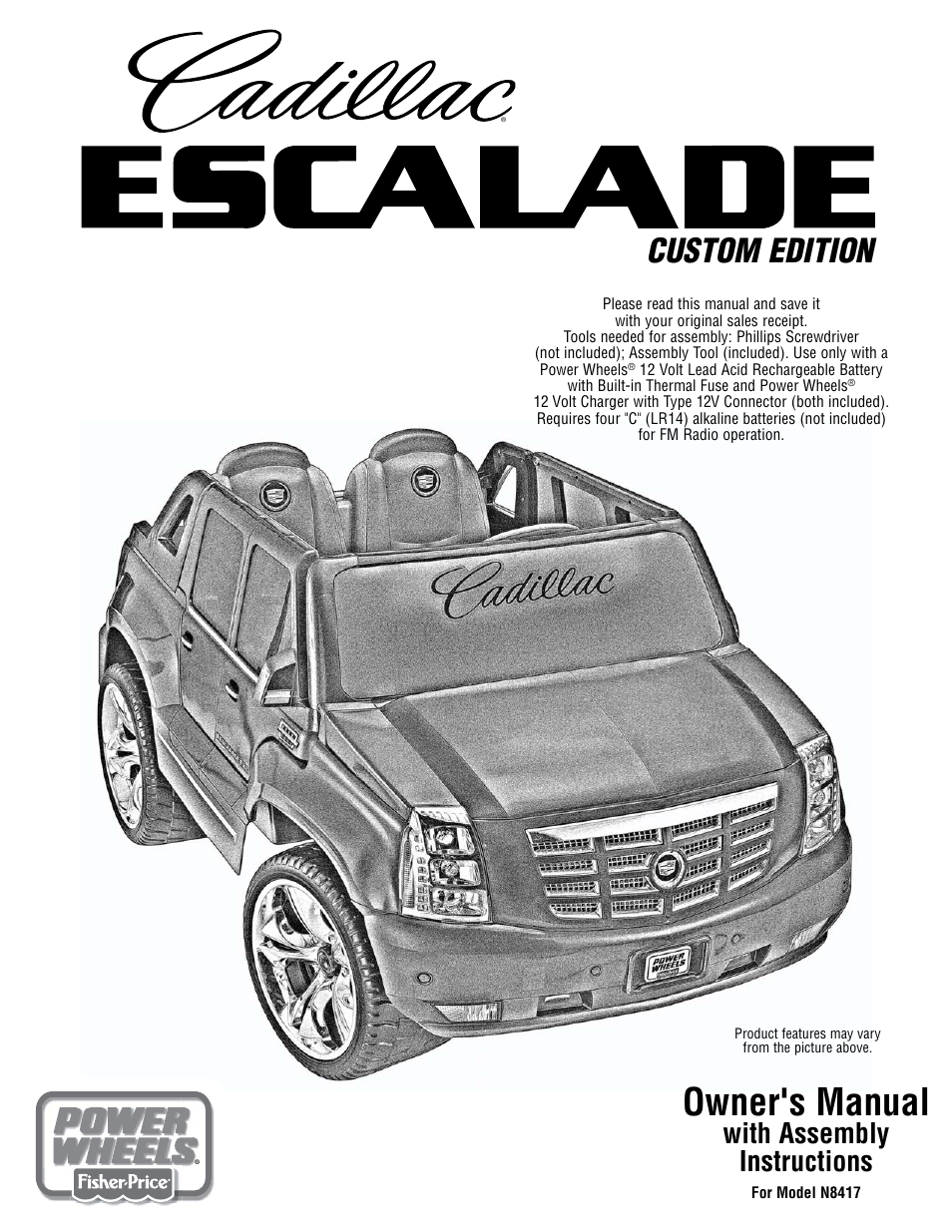 fisher price cadillac escalade custom edition power wheels n8417 user manual 32 pages fisher price cadillac escalade custom