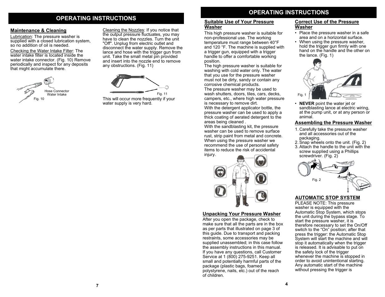 Operating instructions | Fantom Vacuum FANTOM VPW40H User