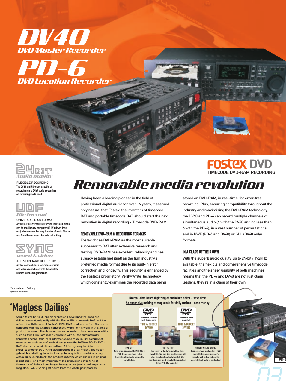Dv40, Pd-6, Sync | Magless dailies, Removable media revolution, Dvd