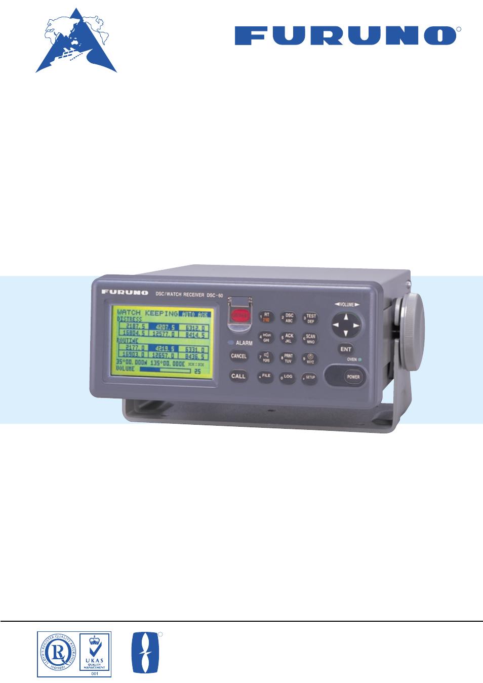 Furuno MF/HF DSC/Watch Receiver DSC-60 User Manual | 2 pages