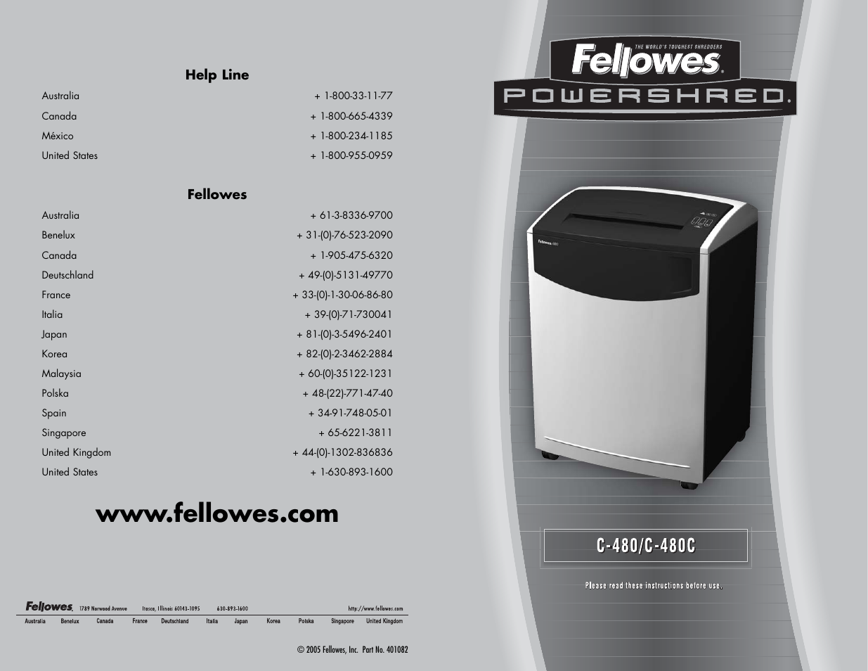 fellowes powershred c 480c user manual 2 pages also for rh manualsdir com User Manual User Manual