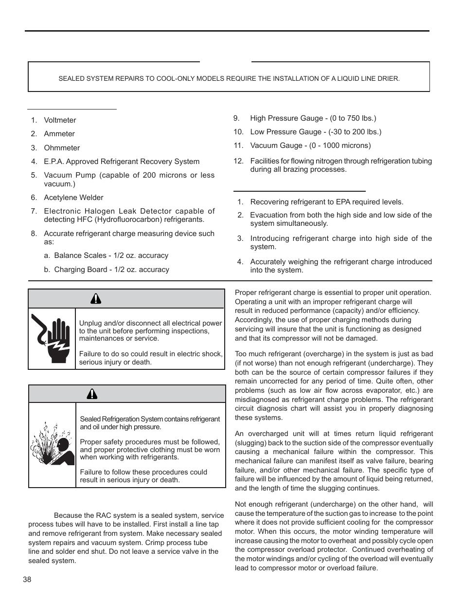 Warning, R-410a sealed refrigeration system repairs, Refrigerant charging |  Friedrich KUHL R