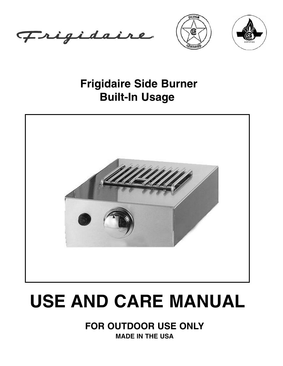 Frigidaire Side Burner User Manual 11 Pages
