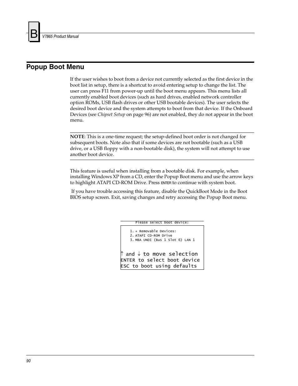 Popup boot menu | FANUC Robotics America V7865* User Manual