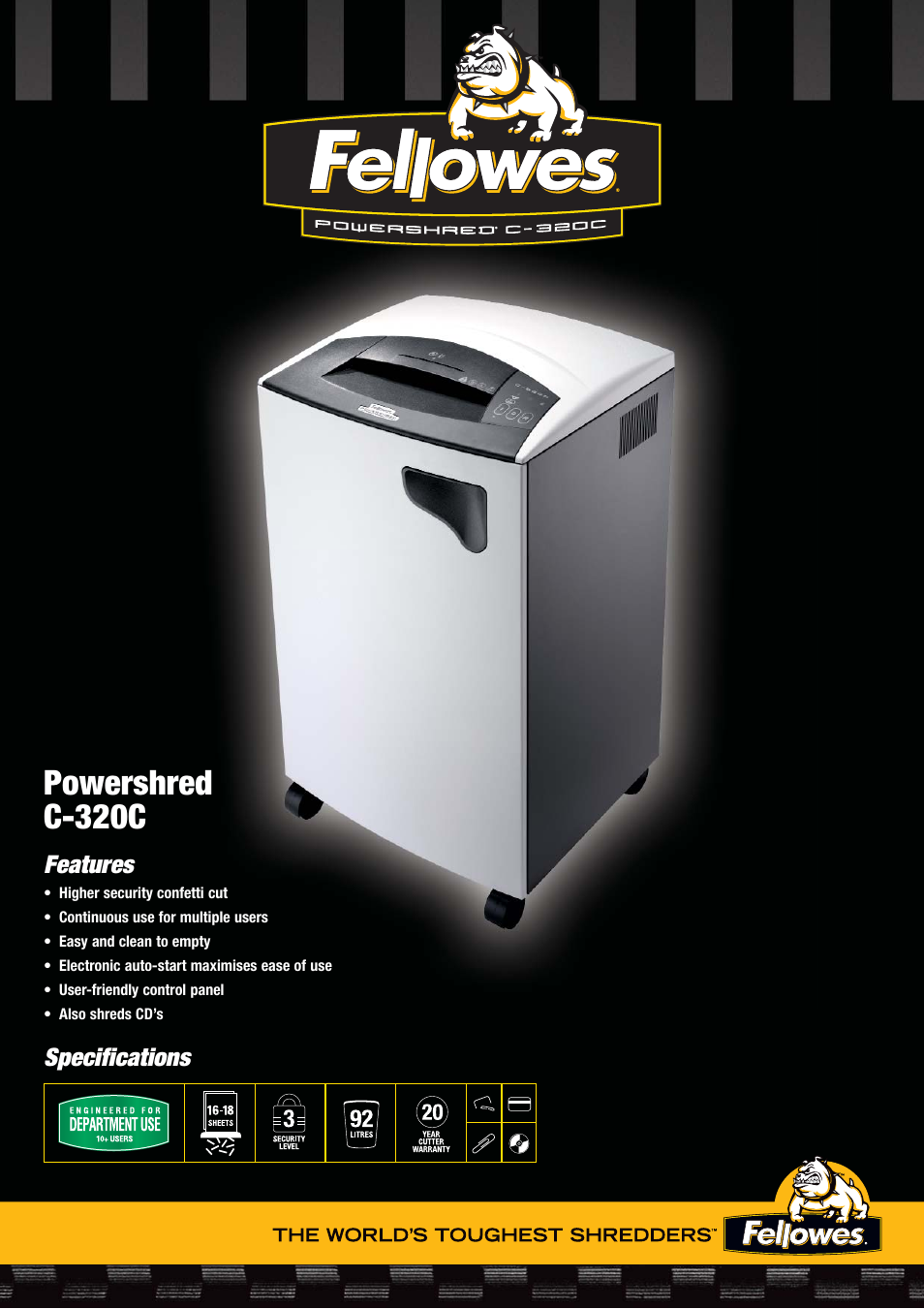 fellowes powershred c 320c user manual 2 pages rh manualsdir com