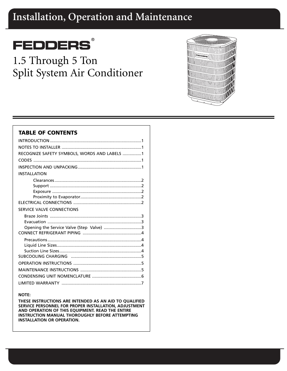 fedders split system air conditioner user manual 8 pages rh manualsdir com Honeywell Thermostat Installation Manual Garage Door Installation Manual