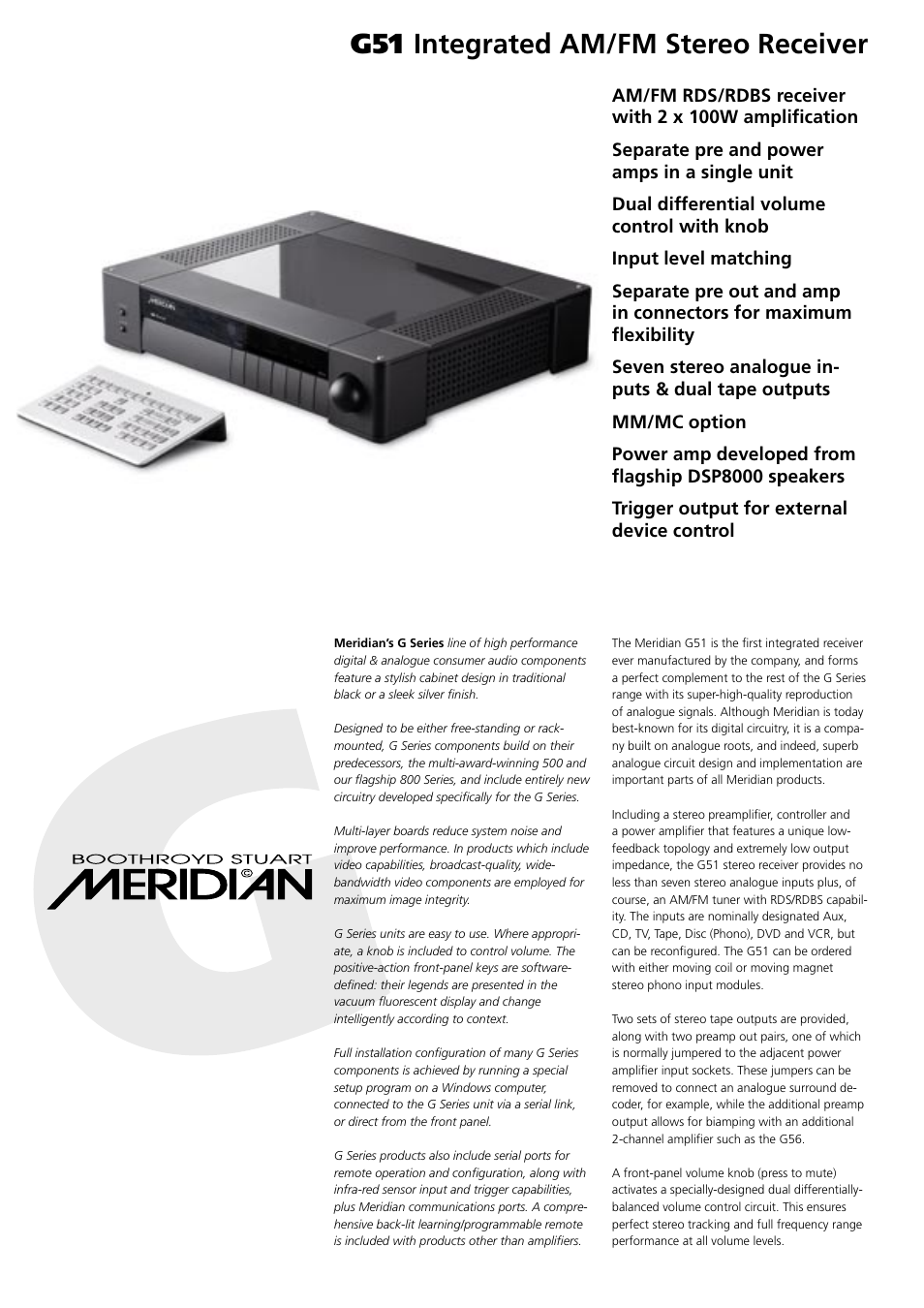 Meridian Audio G51 User Manual   2 pages