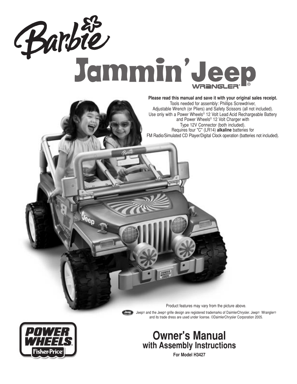 fisher price barbie jammin jeep h3427 user manual 28 pages rh manualsdir com Monster Truck Power Wheels Power Wheels Purple