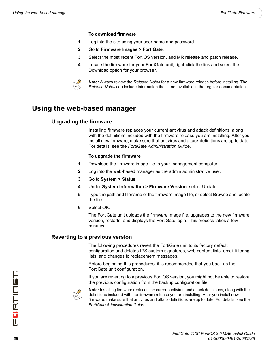 Using the web-based manager, Upgrading the firmware, Reverting to a