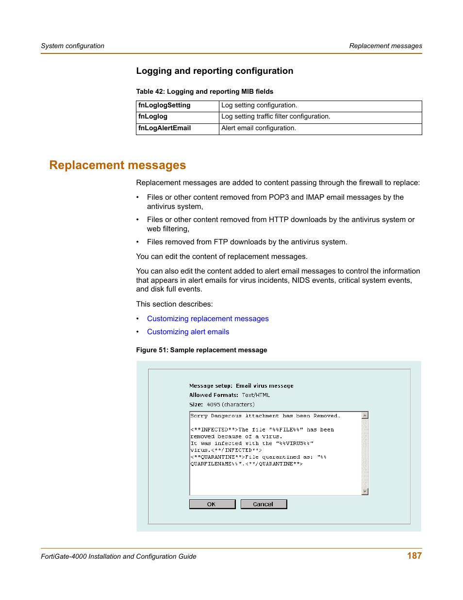 Logging and reporting configuration, Replacement messages