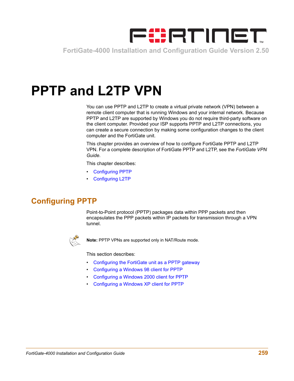 Pptp and l2tp vpn, Configuring pptp | Fortinet FortiGate
