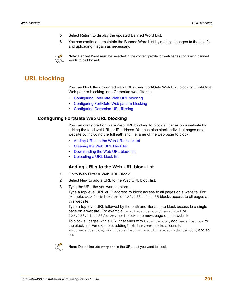 Url blocking configuring fortigate web url blocking adding urls to url blocking configuring fortigate web url blocking adding urls to the web url block list fortinet fortigate 4000 user manual page 291 332 ccuart Images