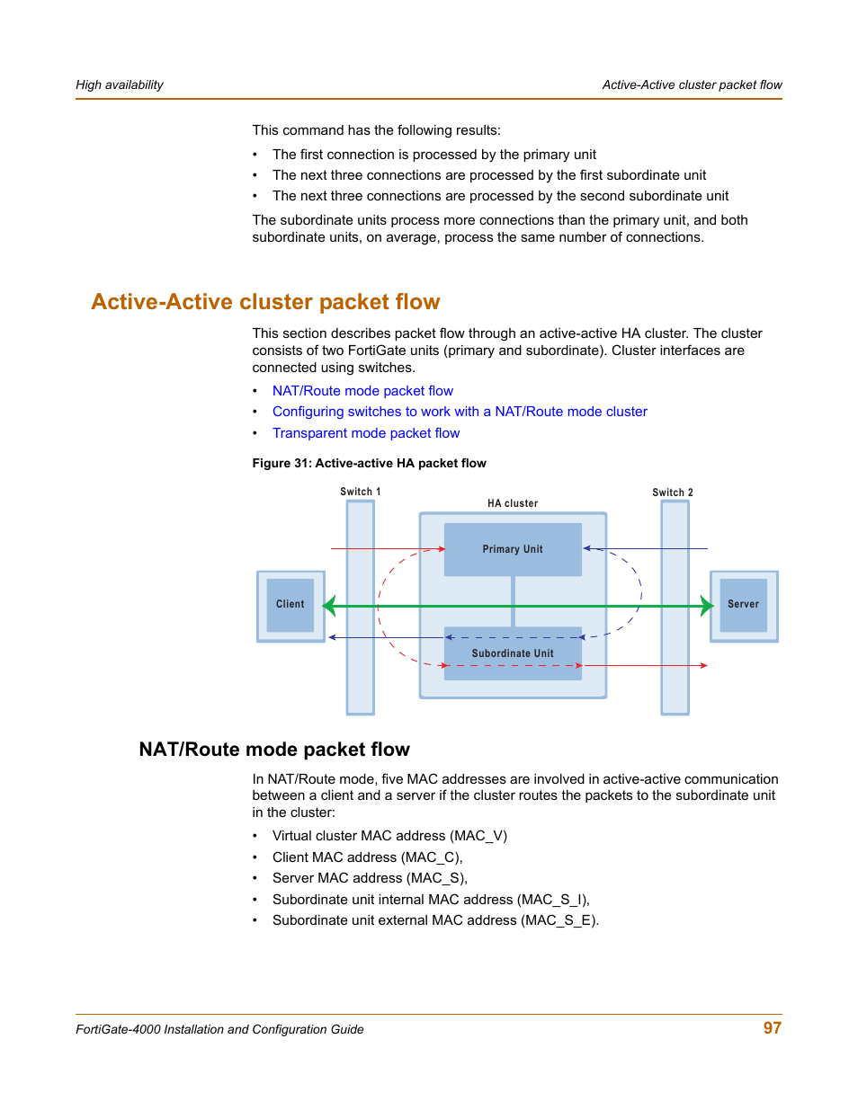 Active-active cluster packet flow, Nat/route mode packet flow