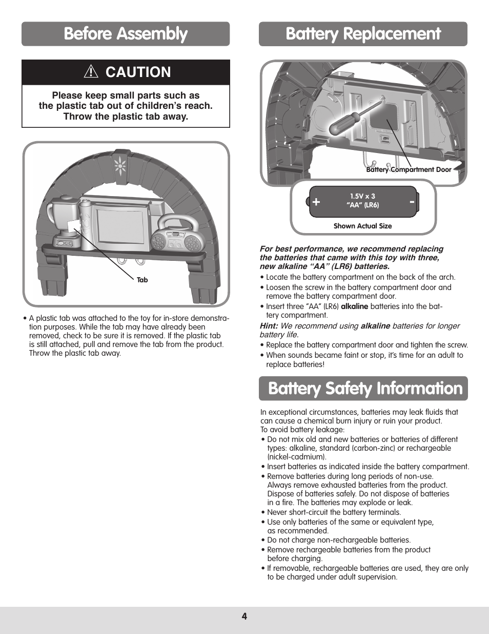 Before assembly, Battery replacement, Battery safety information ...