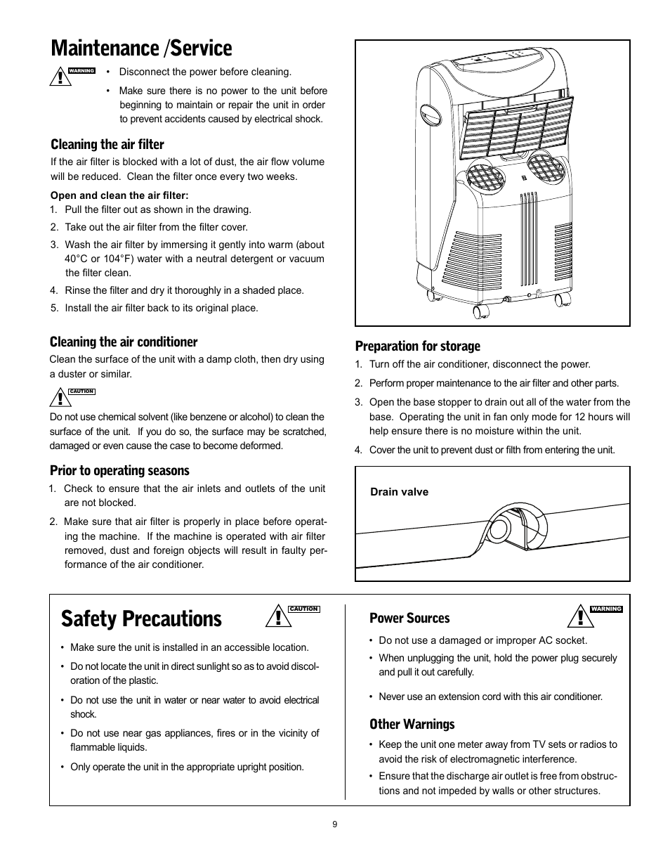 Safety precautions, Maintenance /service, Cleaning the air conditioner    Prior to operating seasons