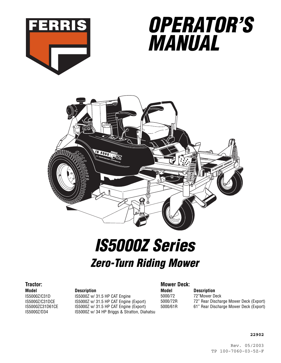 ferris industries 5000 72r user manual 55 pages also. Black Bedroom Furniture Sets. Home Design Ideas
