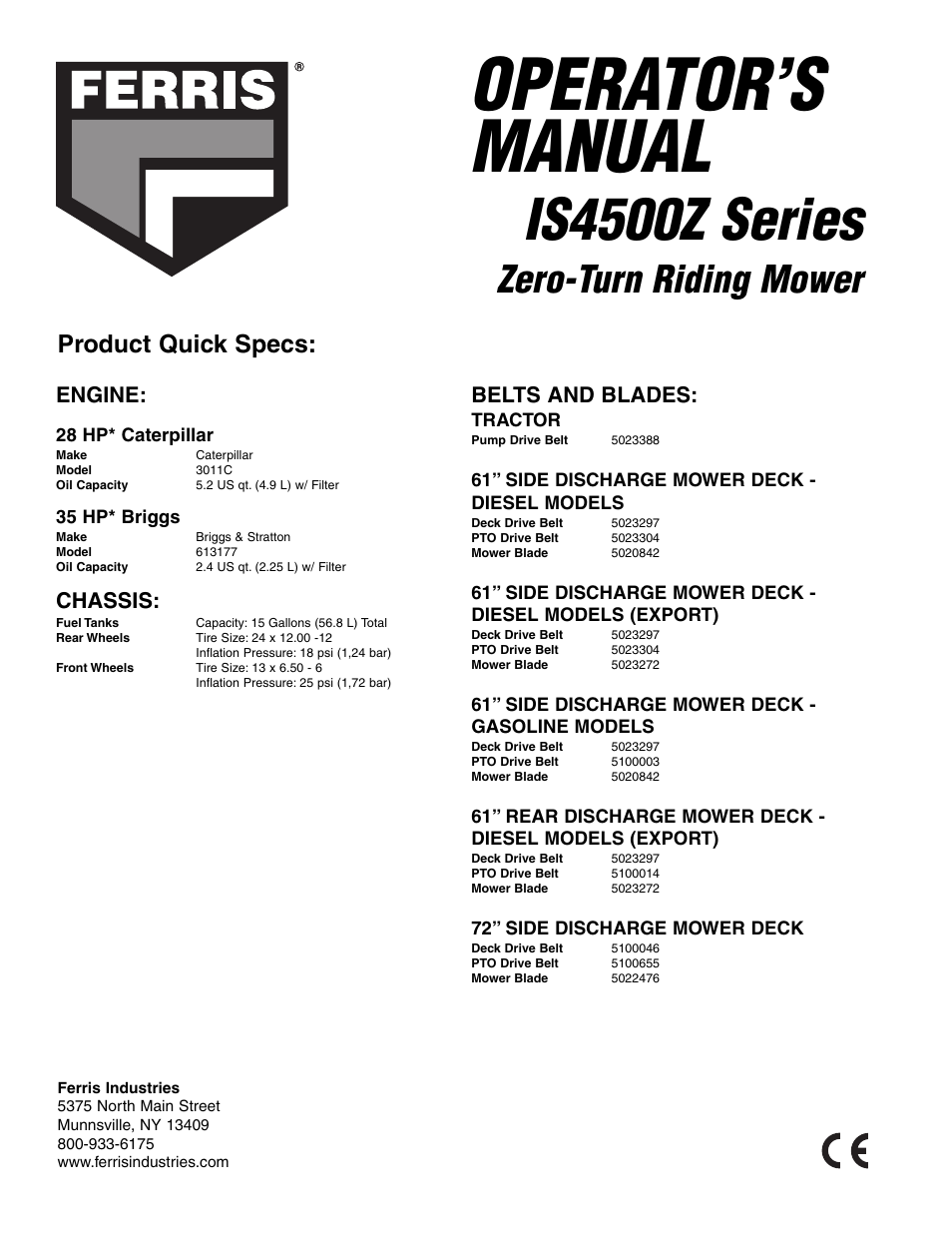operator s manual is4500z series zero turn riding mower. Black Bedroom Furniture Sets. Home Design Ideas