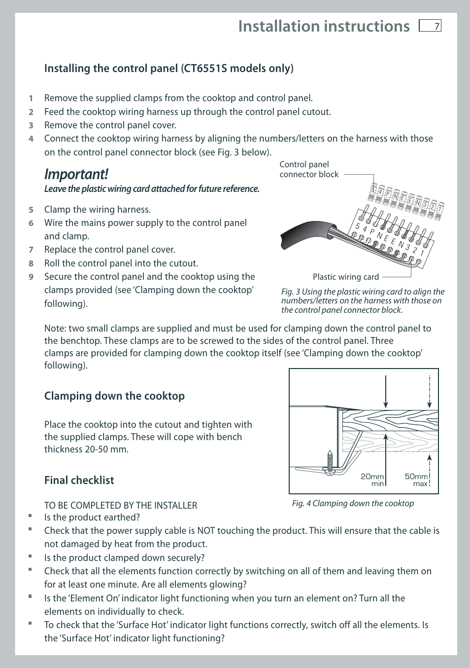 Installation Instructions Important Fisher Paykel Ct6551s User Wire Harness Manual Page 9 20