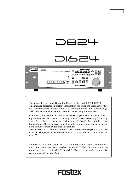 fostex d824 user manual 28 pages rh manualsdir com Online User Guide Online User Guide