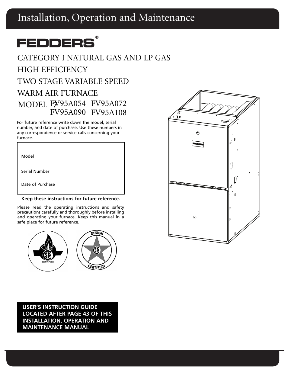 Fedders Furnace Model Numbers Free Download Wiring Diagram Fv95a090 User Manual 50 Pages Also For Fv95a072 Gas At