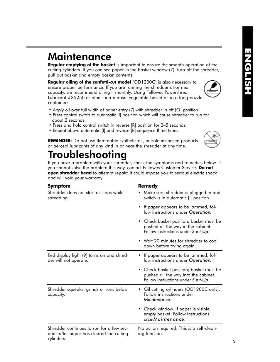 maintenance troubleshooting fellowes od1200 user manual page 6 rh manualsdir com fellowes instruction manual fellowes pb2450 user manual
