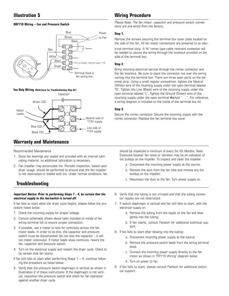 Wiring procedure, Illustration 5, Warranty and maintenance | Fantech DBF110  User Manual | Page 4 / 12