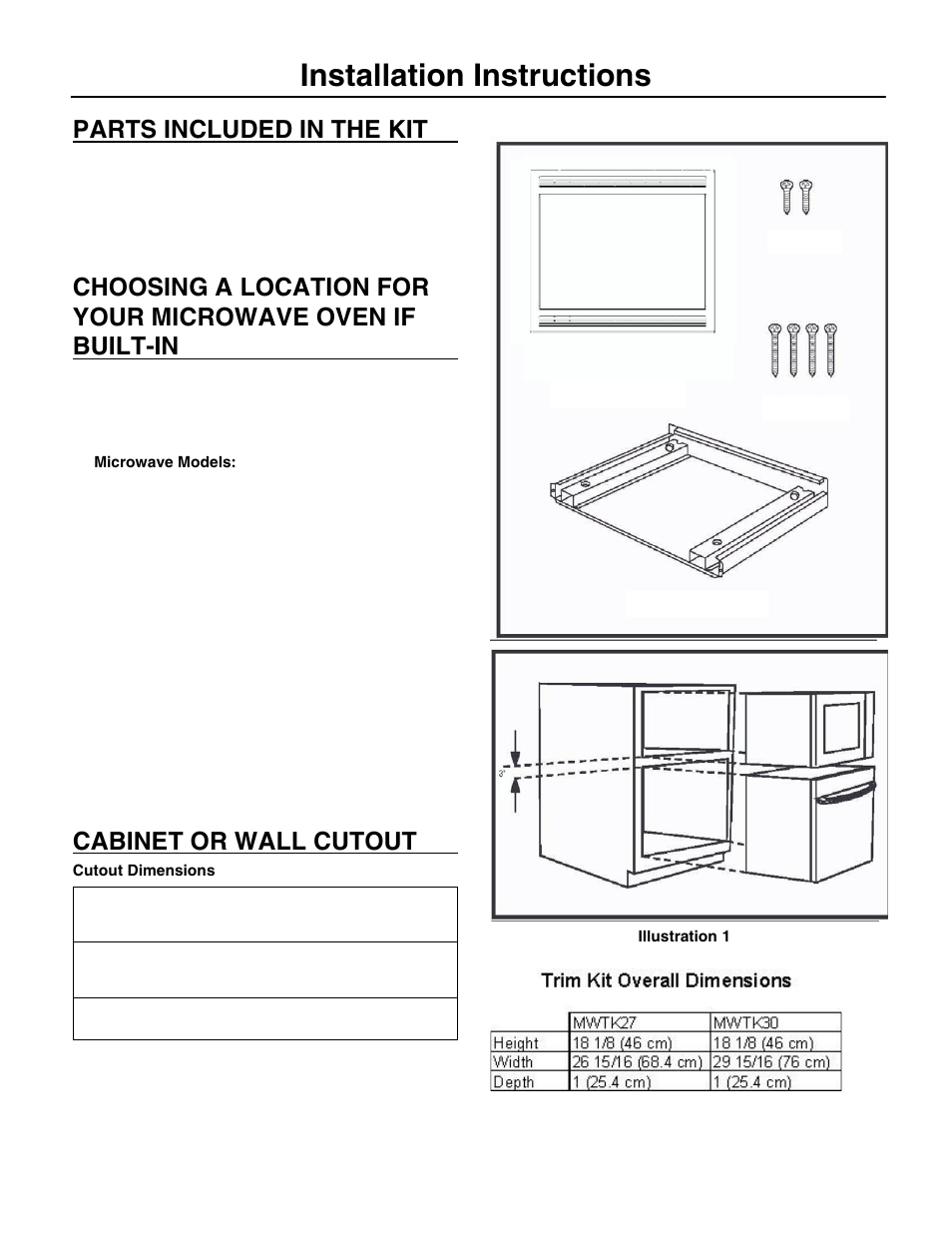 Installation Instructions Parts Included In The Kit