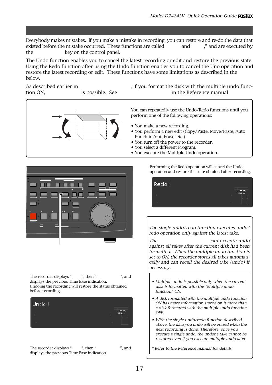 undo and redo recording single undo redo hints undo redo key rh manualsdir com Fostex MR16 Fostex T50RP
