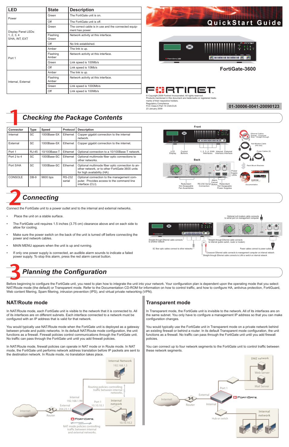 Fortinet FortiGate 3600 User Manual | 2 pages