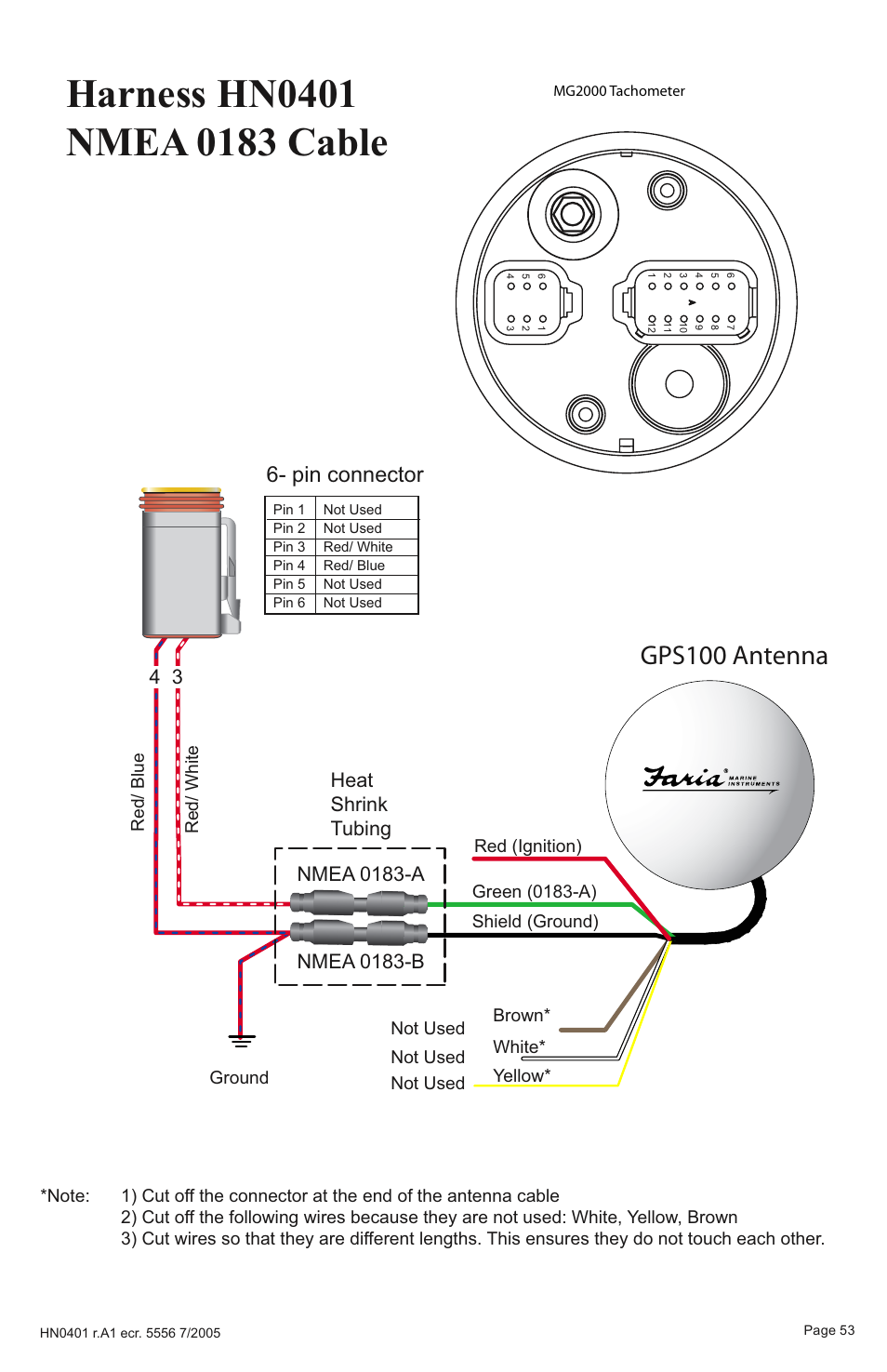 Gps100 antenna, Pin connector, Heat shrink tubing | Faria Instruments  SMARTCRAFT MG2000 User Manual | Page 59 / 60