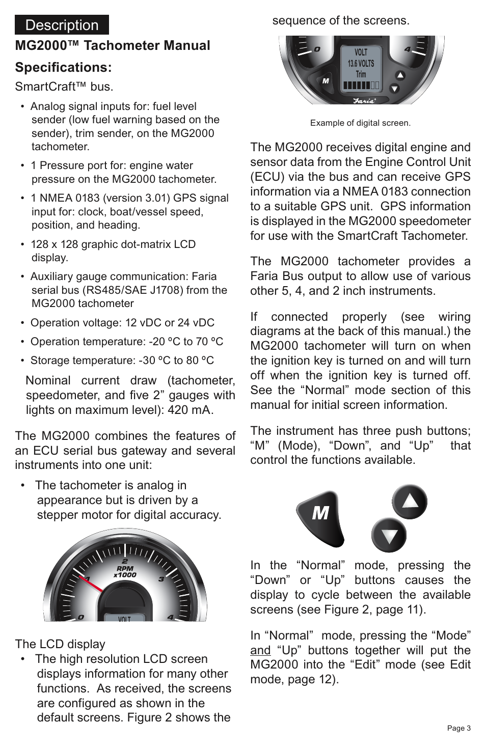 Description, Mg2000™ tachometer manual specifications | Faria Instruments  SMARTCRAFT MG2000 User Manual | Page 9 / 60