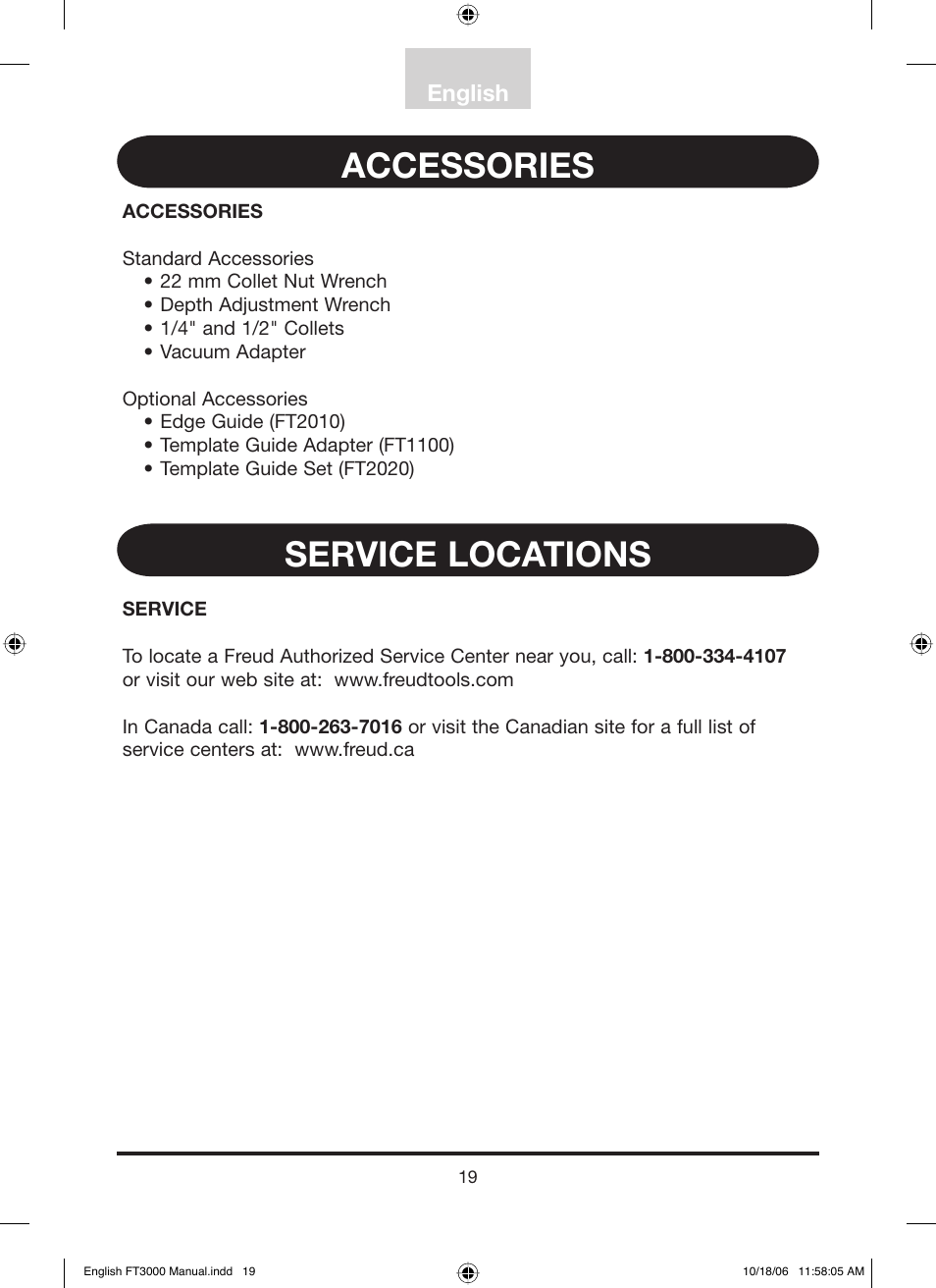 Accessories Service Locations English Freud Tools Ft3000vce User Manual Page 20 60
