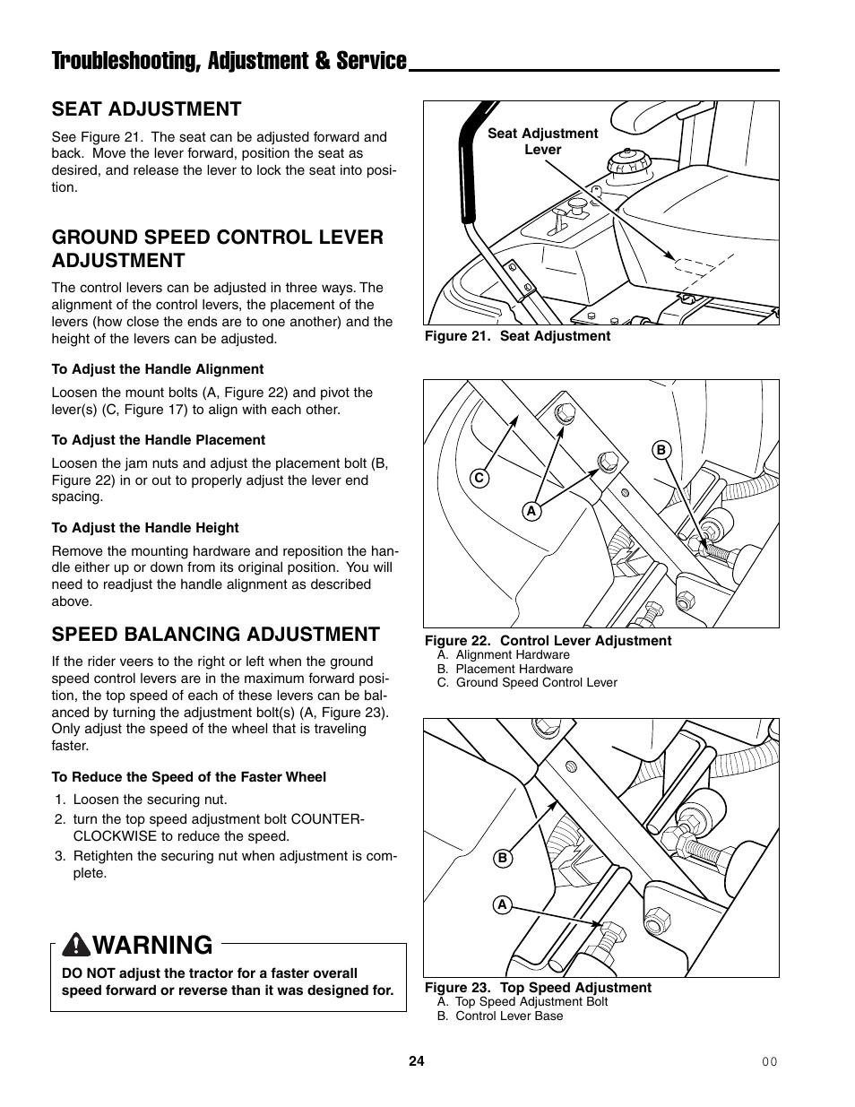 Troubleshooting, adjustment & service, Warning, Seat