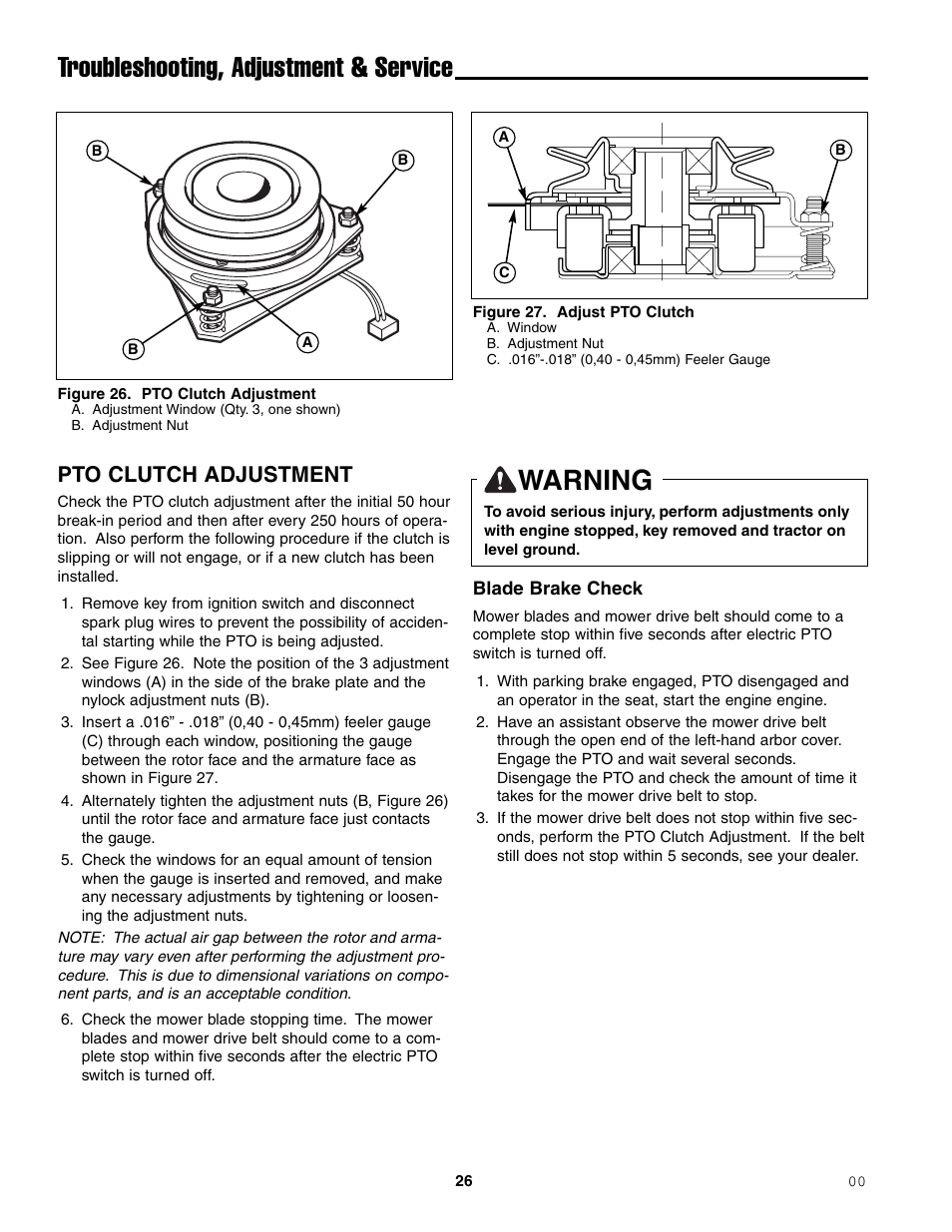 Troubleshooting Adjustment Service Warning Pto Clutch Ferris Mower Seat Switch Wiring Diagram Industries 1000zkav21 48ce User Manual Page 28 42
