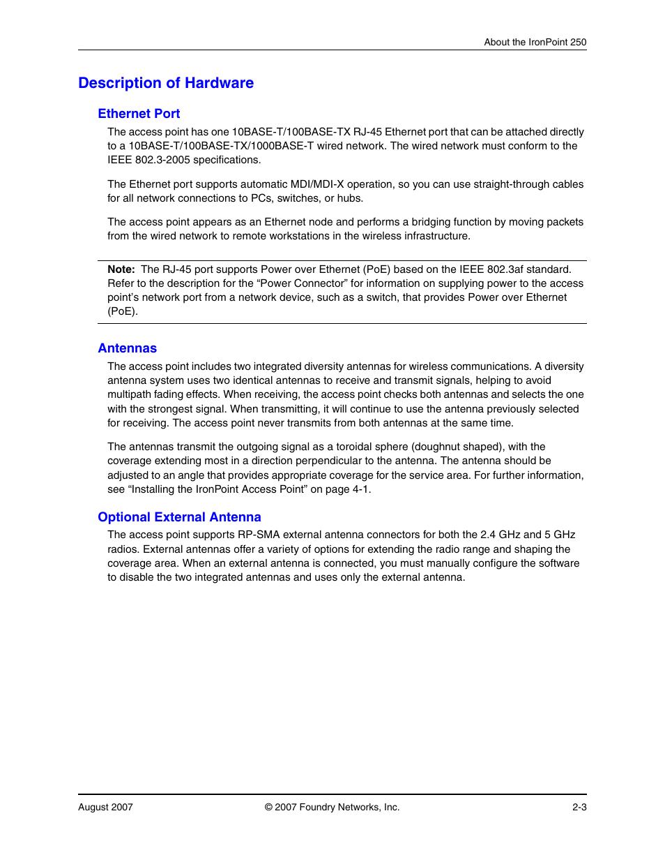 description of hardware ethernet port antennas foundry networks rh manualsdir com Foundry BigIron 8000 Foundry Networks Logo