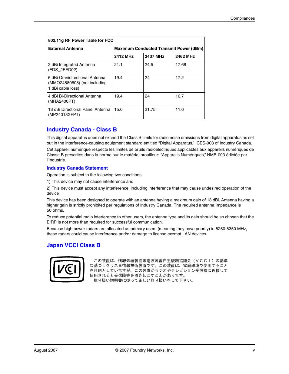 industry canada class b japan vcci class b foundry networks rh manualsdir com Access Point Foundry Foundry Networks Logo