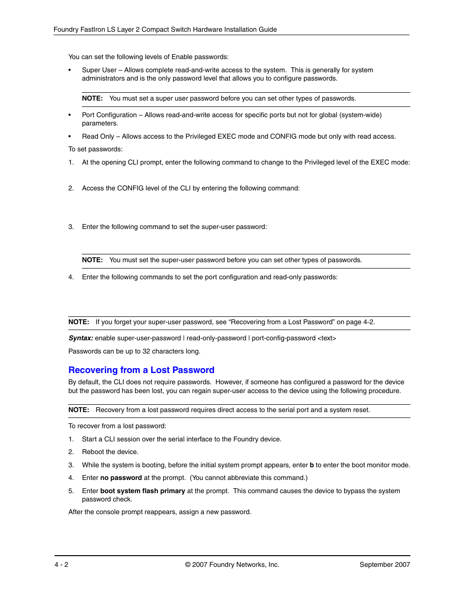 Recovering from a lost password, Ecovering, From | Foundry Networks LS 648 User  Manual | Page 36 / 76