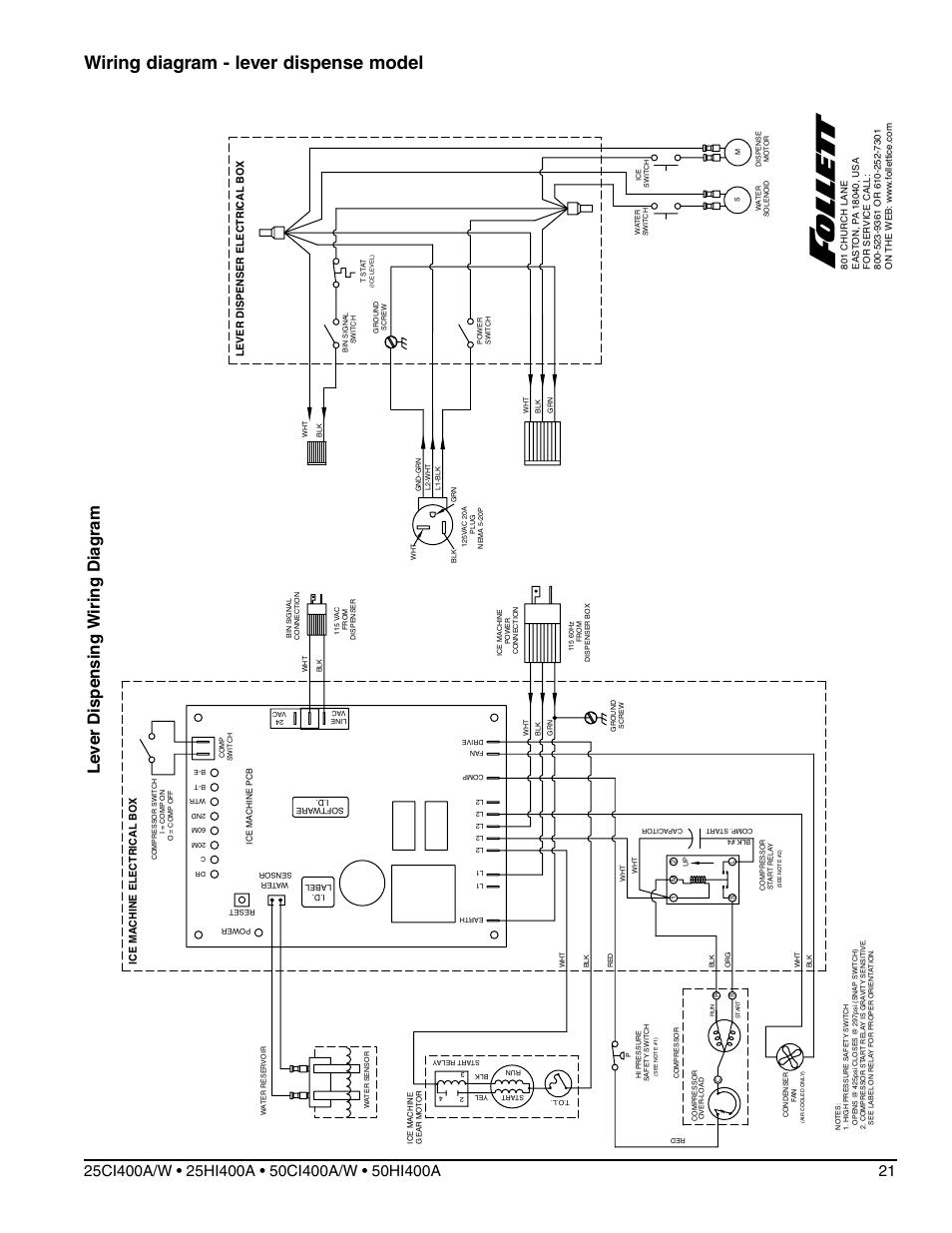 Wiring diagram - lever dispense model, Ice machine electrical bo x |  Follett Symphony 50HI400A
