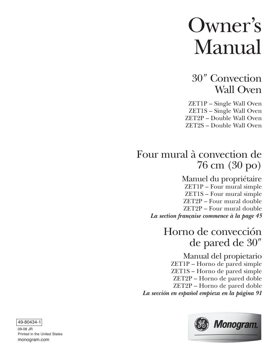 ge monogram zet2s user manual 128 pages original mode also for rh  manualsdir com ge monogram oven owner's manual GE Monogram Convection Oven  Manual