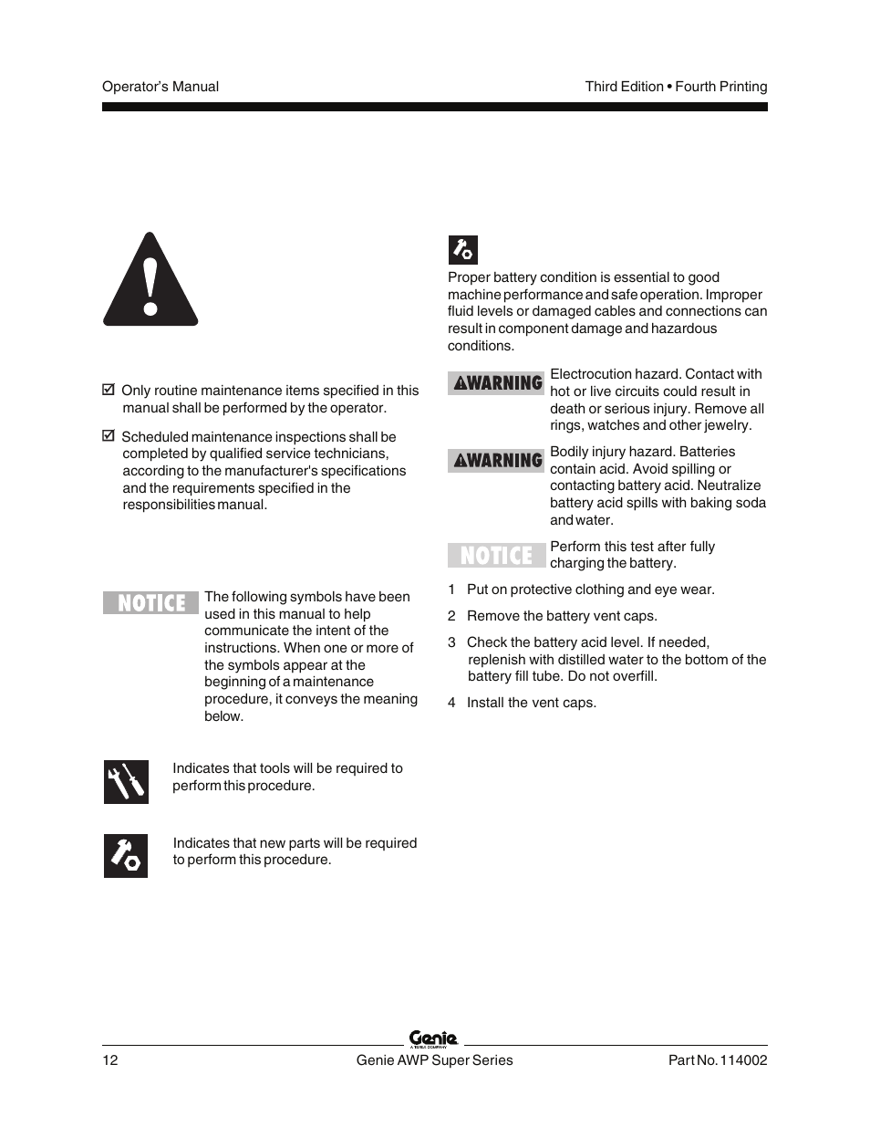 Maintenance, Observe and obey, Check the battery - dc models | Genie AWP  114002