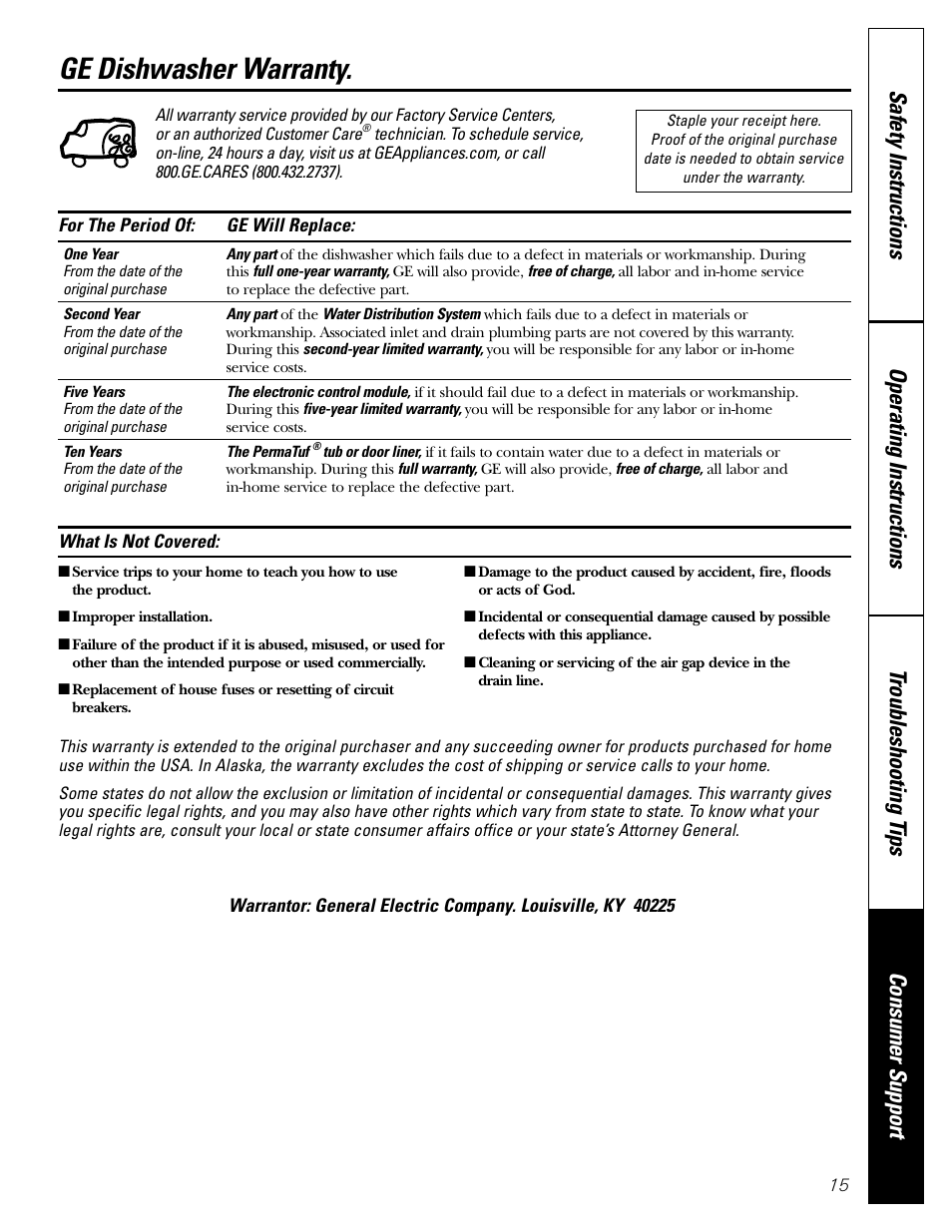warranty ge dishwasher warranty ge edw3000 user manual page 15 rh manualsdir com GE Monogram Refrigerator Owners Manual GE Appliances