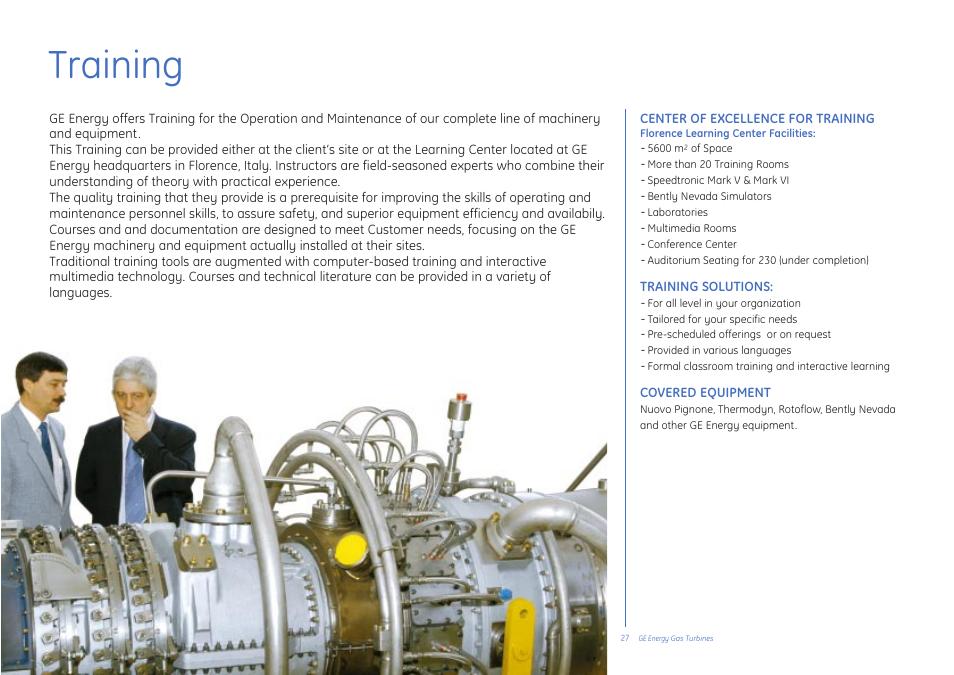 Training | GE Gas Turbine User Manual | Page 27 / 31